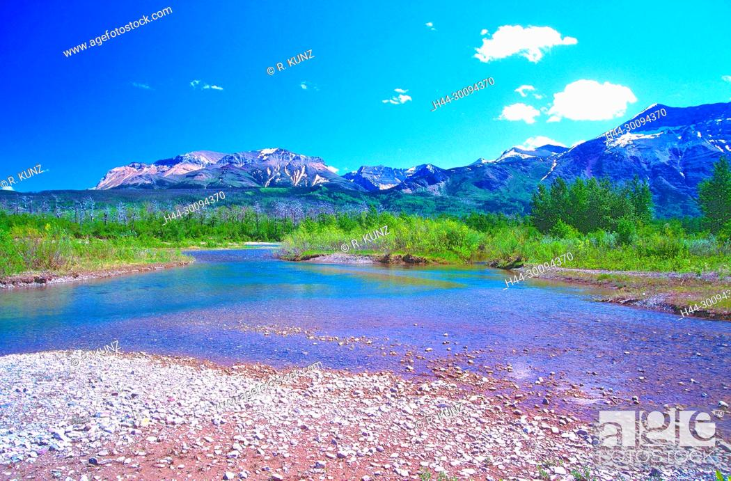 Stock Photo: River landscape, Waterton River, mountains, Waterton Lakes National Park, Province of Alberta, Canada.
