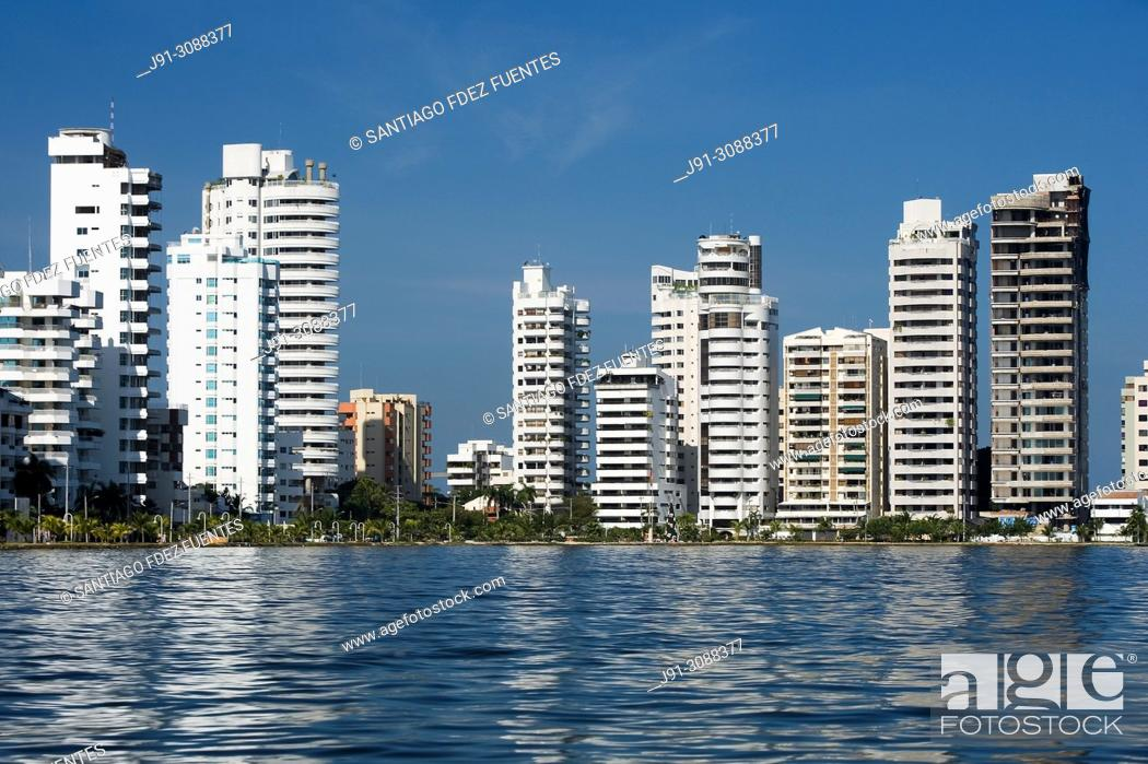 Stock Photo: Tall residential buildings. Bocagrande. Cartagena de Indias, Colombia.