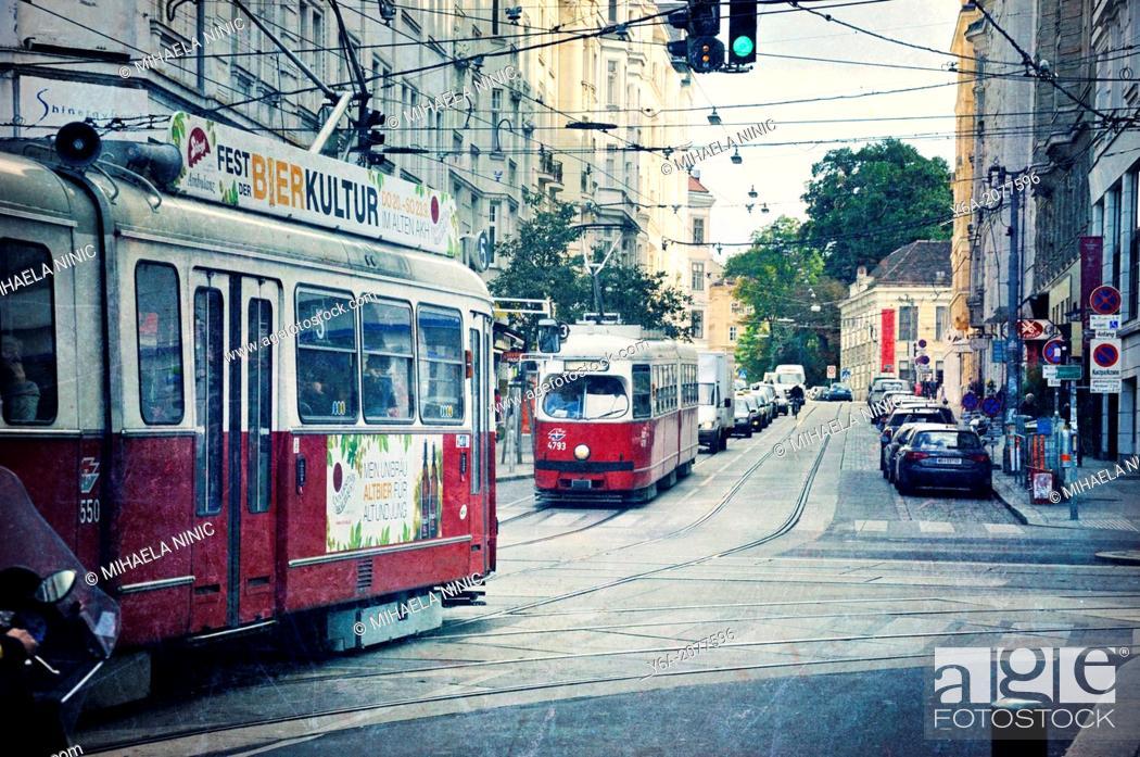 Stock Photo: Urban street scene, Vienna, Austria.
