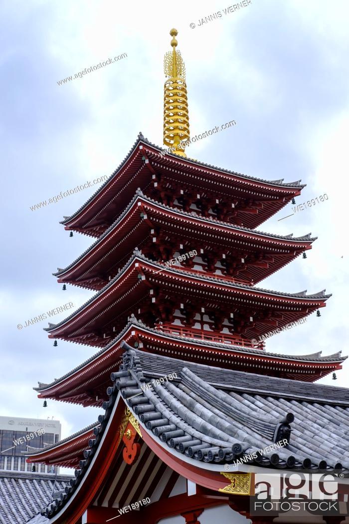 Stock Photo: Pagoda detail at Asakusa Temple in Tokyo, Japan.