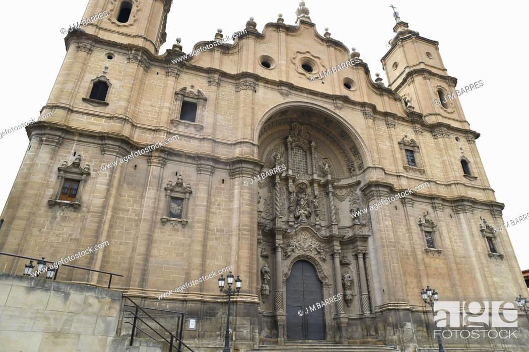Stock Photo: Alcaniz, Santa Maria la Mayor church (XIII-XVIII century). Baroque facade (XVIII century). Bajo Aragon; Teruel, Aragon, Spain.