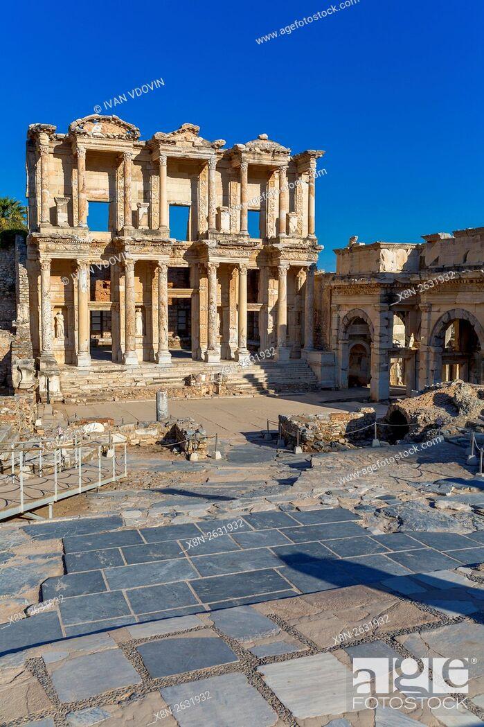Stock Photo: Library of Celsus, Ruins of ancient Ephesus, Selcuk, Izmir Province, Turkey.