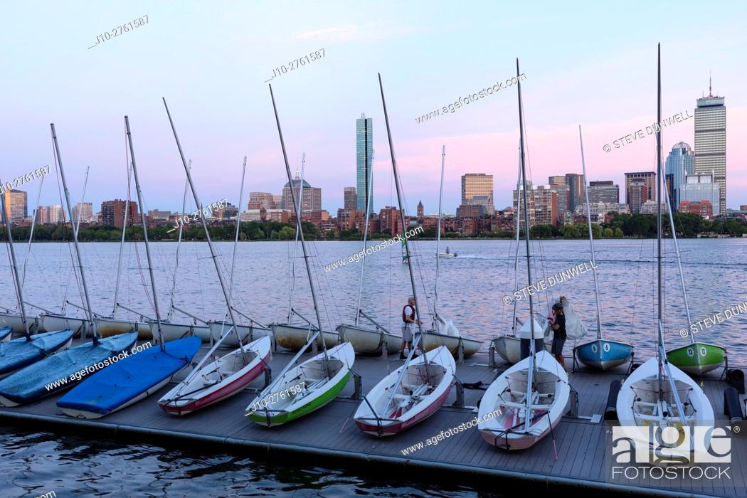 Stock Photo: Sunset Boston skyline from MIT sailing pavilion, Boston, Massachusetts, USA.