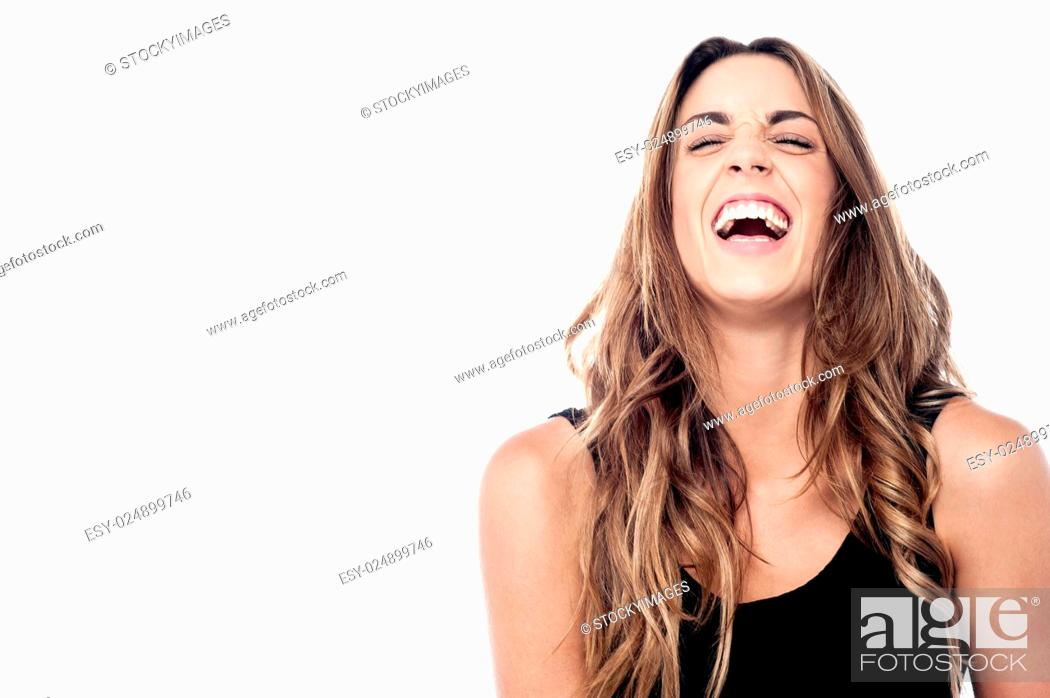 Stock Photo: Excited pretty lady laughing out loud.
