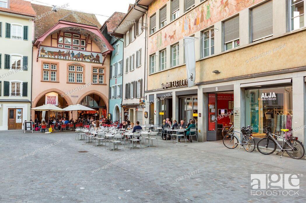 Stock Photo: Old town Aarau, Canton Aargau, Switzerland.