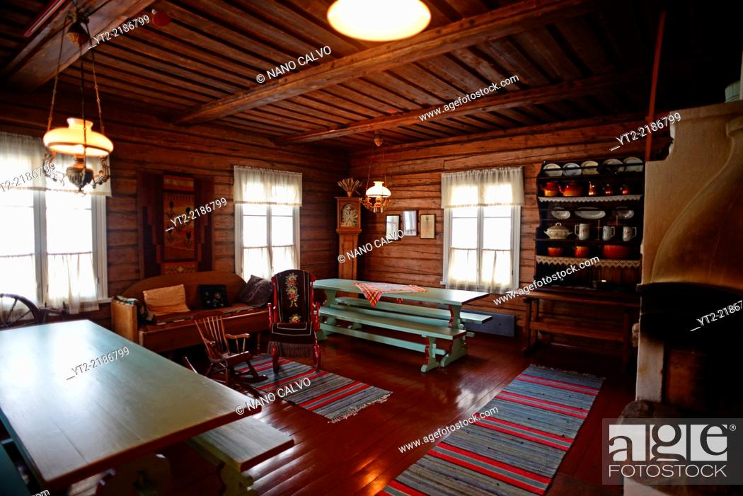 Stock Photo Interior Of A Traditional Finnish Cottage At Kakslauttanen Arctic Resort Saariselka