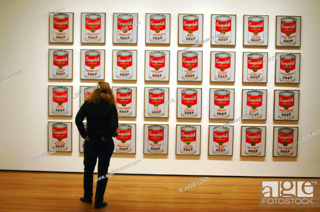 Stock Photo: Woman in museum admiring Warhol's Campbell's Soup Series.