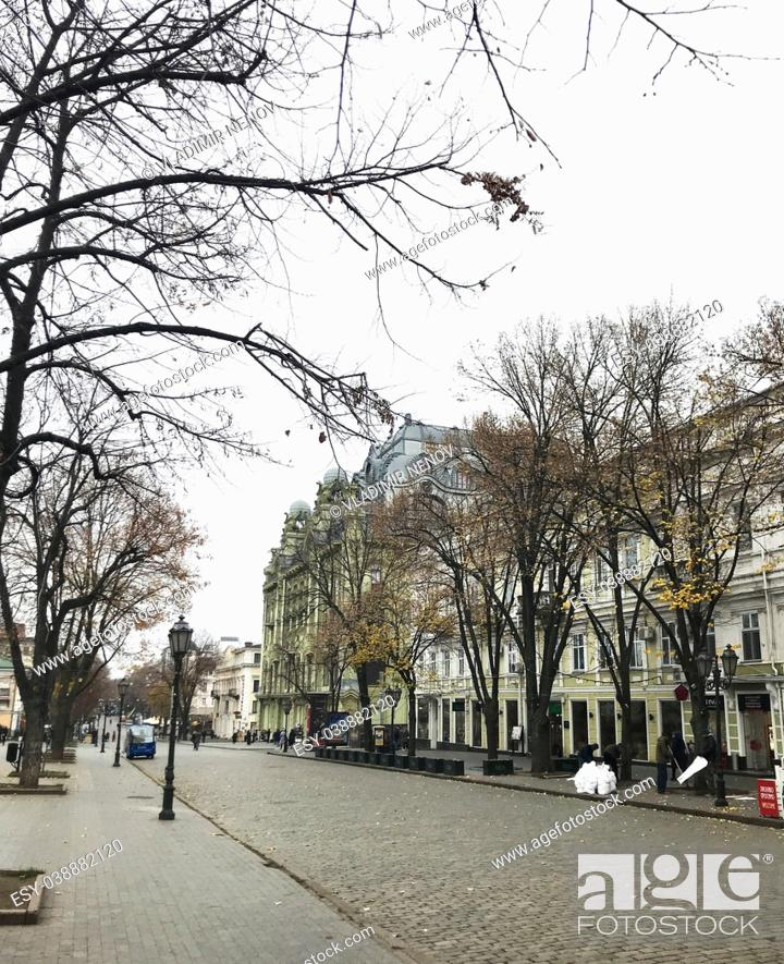 Stock Photo: Odessa, Ukraine: Ulitsa Deribasovskaya is a pedestrian walkway in the heart of Odessa, Ukraine.