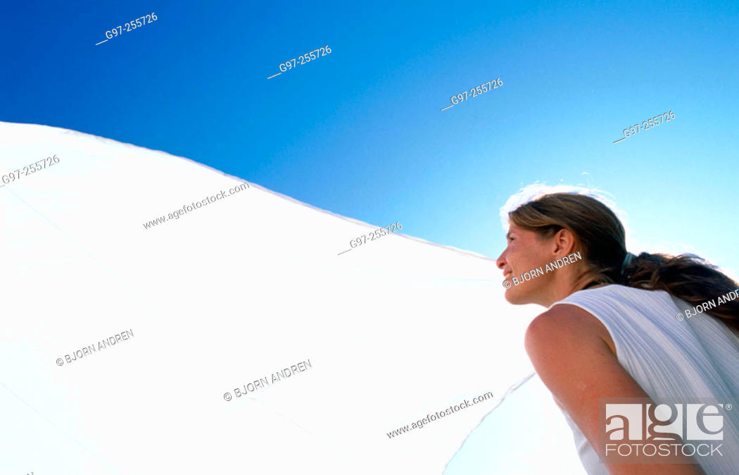 Stock Photo: Woman with sail.