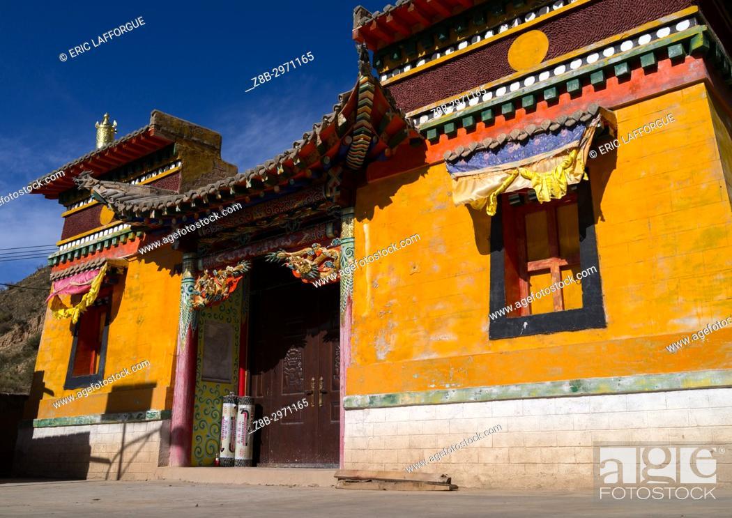 Stock Photo: Yellow temple in Rongwo monastery, Tongren County, Longwu, China.