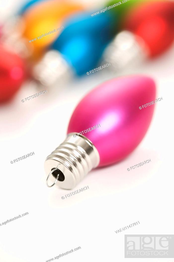 Stock Photo: Still life of multicolored Christmas ornaments.