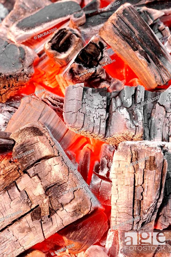 Stock Photo: Glowing Hot Charcoal In Fireplace Vertical Background Texture Close-up.