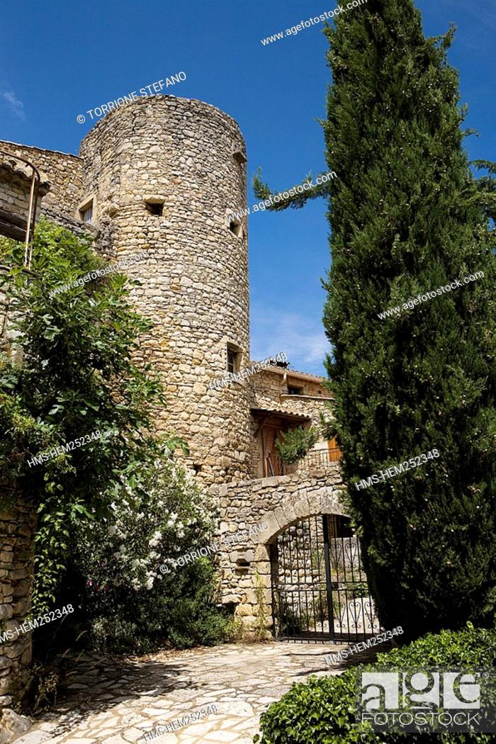 Stock Photo: France, Gard, La Roque sur Ceze, labelled Les Plus Beaux Villages de France The Most Beautiful Villages of France, a tower, vestige of the former fortifications.