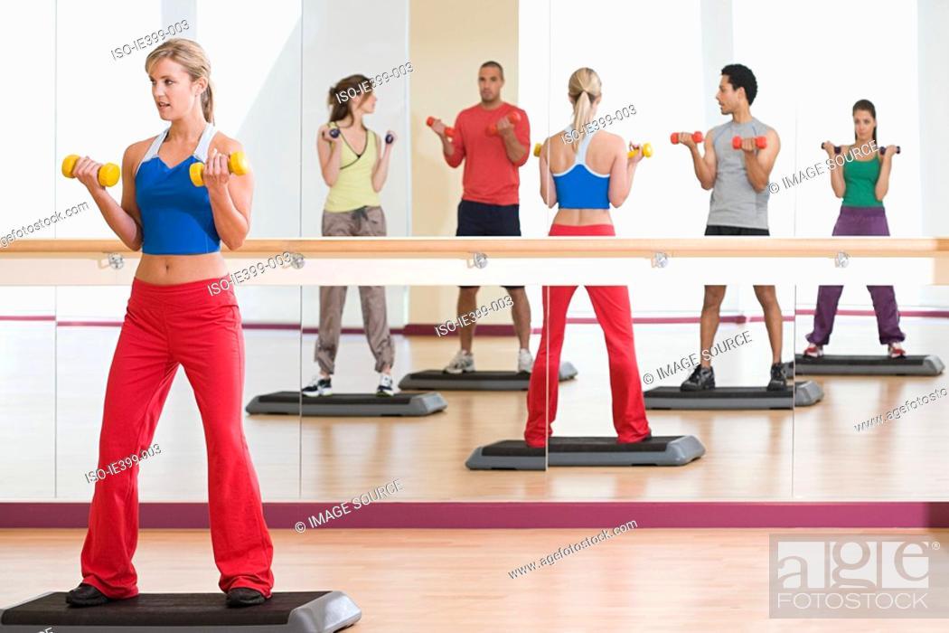 Stock Photo: Fitness class.