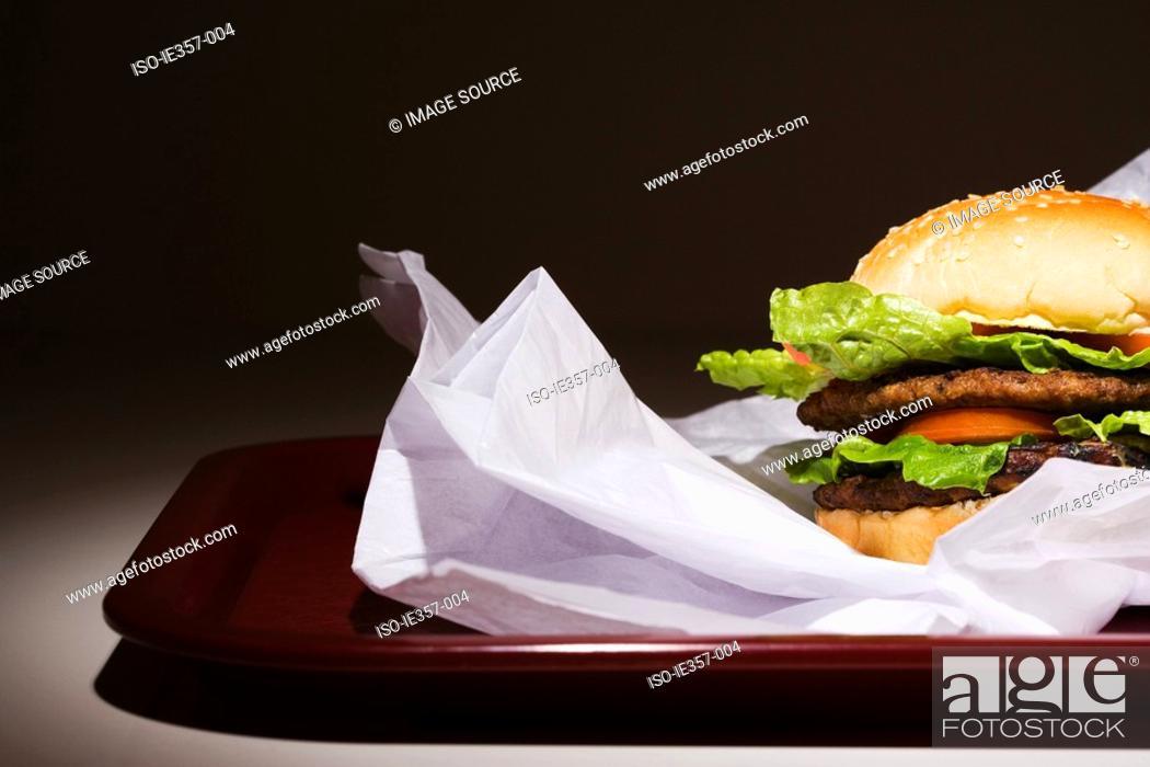 Stock Photo: Hamburger on a tray.