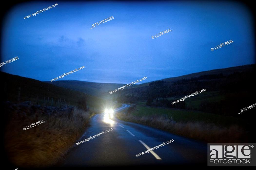 Stock Photo: Country road at night.