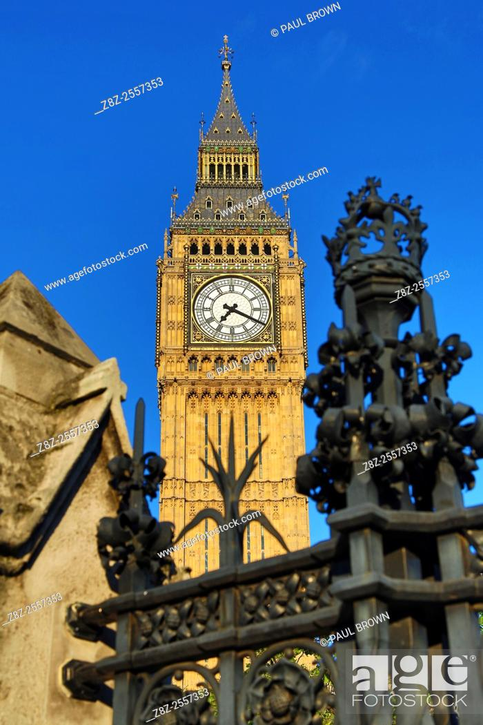 Stock Photo: Big Ben at the Houses of Parliament in Westminster, London, England.