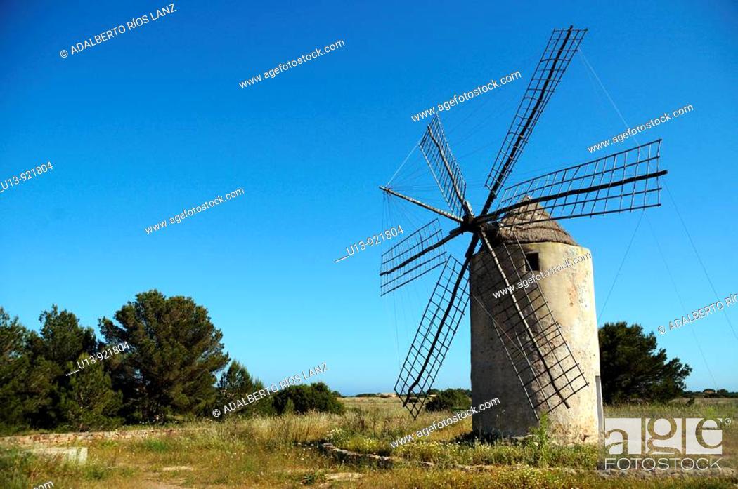 Stock Photo: Windmill, Formentera, Balearic, Islands, Spain.