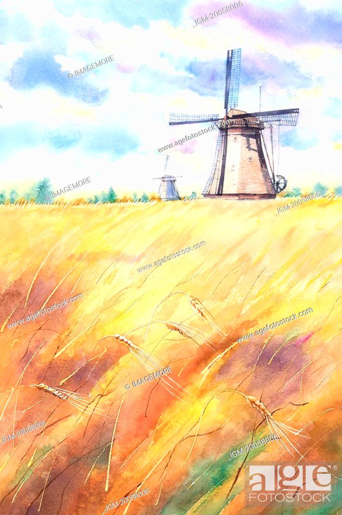 Stock Photo: Flower, Watercolor painting of windmill in the farm field.