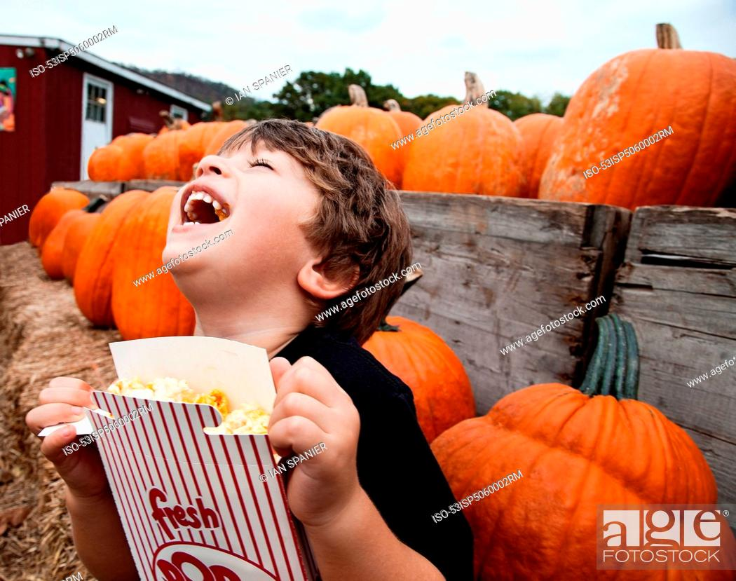 Stock Photo: Boy eating popcorn in pumpkin patch.