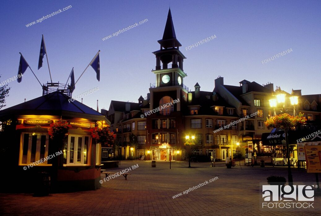 Stock Photo: Canada, Quebec, Laurentians, Mount Tremblant, Tremblant Resort Village at night in the Laurentian Mountains.