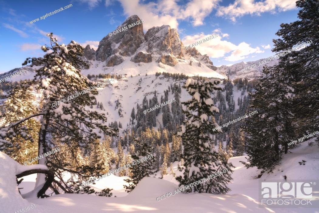 Stock Photo: Sass de Putia at sunset in winter season, Erbe pass in Trentino. Italy.