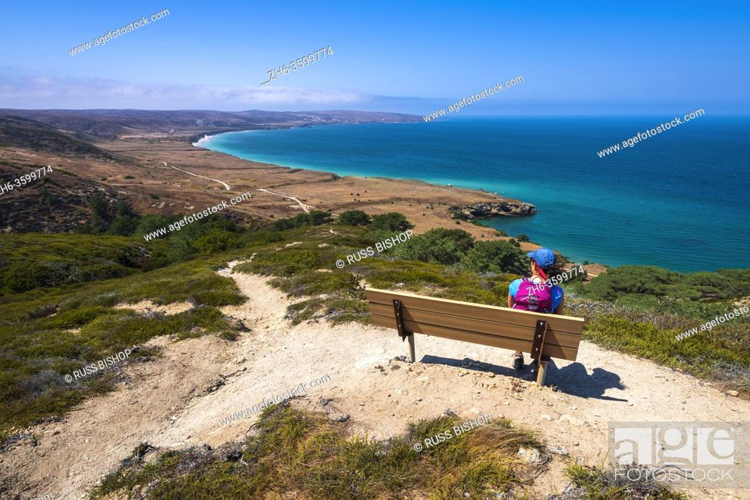 Stock Photo: Hiker enjoying the view from the Torrey Pines Trail, Santa Rosa Island, Channel Islands National Park, California USA.