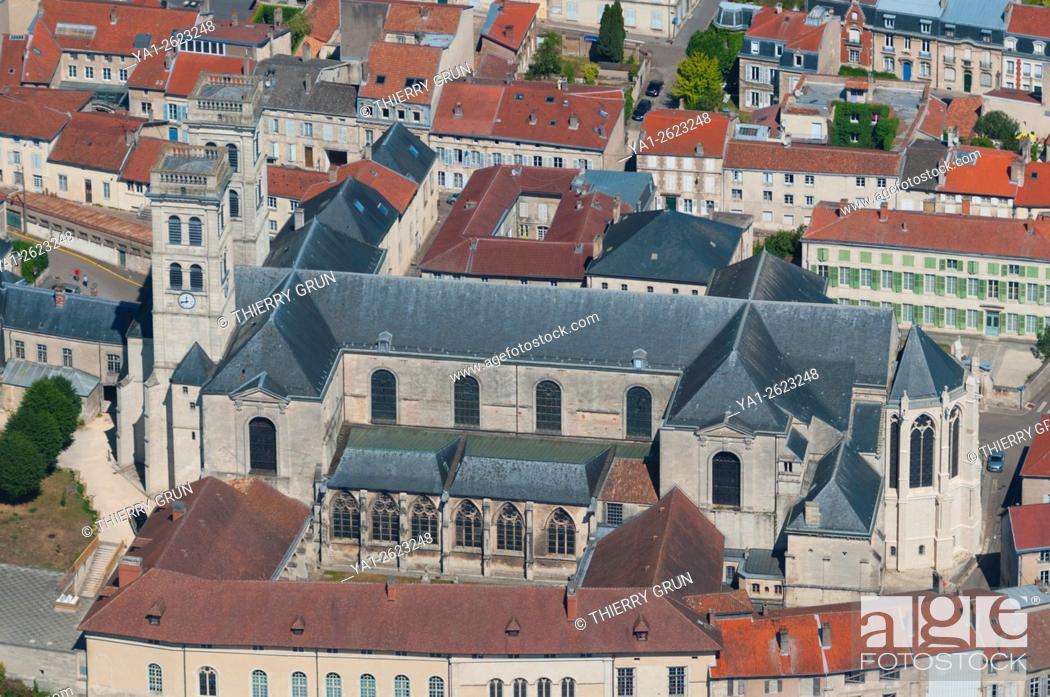 Stock Photo: France, Meuse (55), Verdun town, Notre Dame de Verdun cathedral (aerial view).