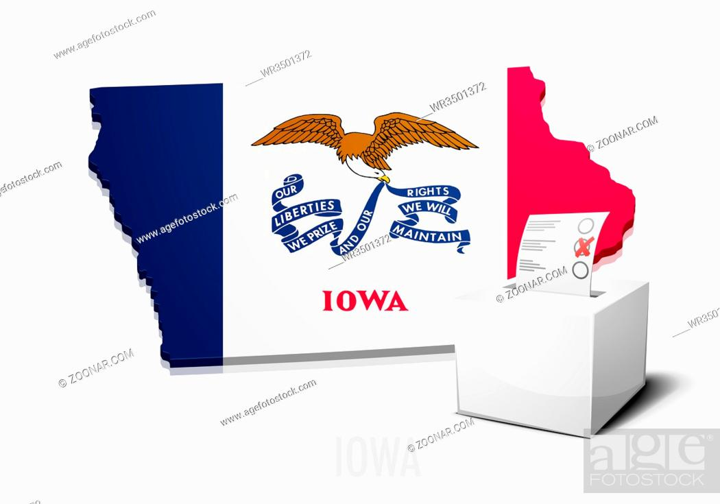 Stock Photo: detailed illustration of a ballotbox in front of a map of Iowa, eps10 vector.
