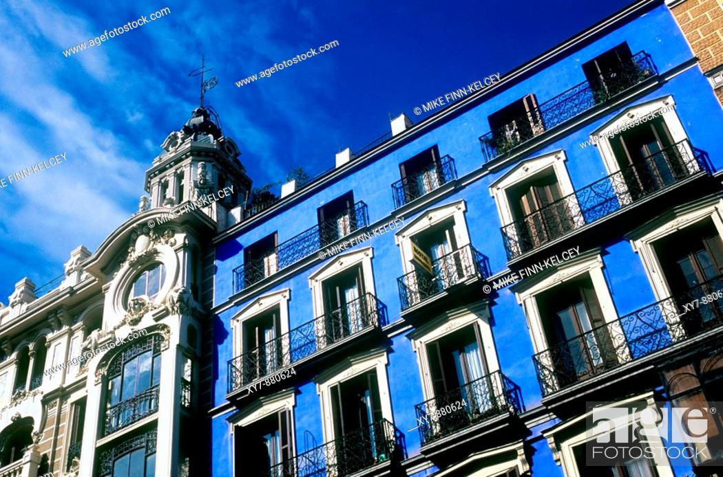 Stock Photo: A blue building on the Gran Via in Madrid.