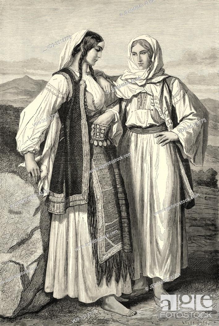 Photo de stock: Bosnian women of Greek religion, Bosnian military border, Bosnia. Europe, Old engraving illustration Trip land of southern Slavs by M. Perrot.