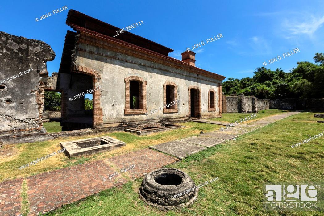 Stock Photo: Ruins of the Nigua Sugar Mill, or Ingenio Boca de Nigua, built in the 1600's in Nigua in the Dominican Republic. In 1796.