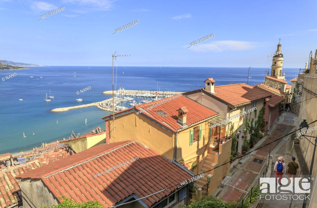 Stock Photo: France, Alpes Maritimes, Menton, view on the houses in the old town and Mediterranean Sea.