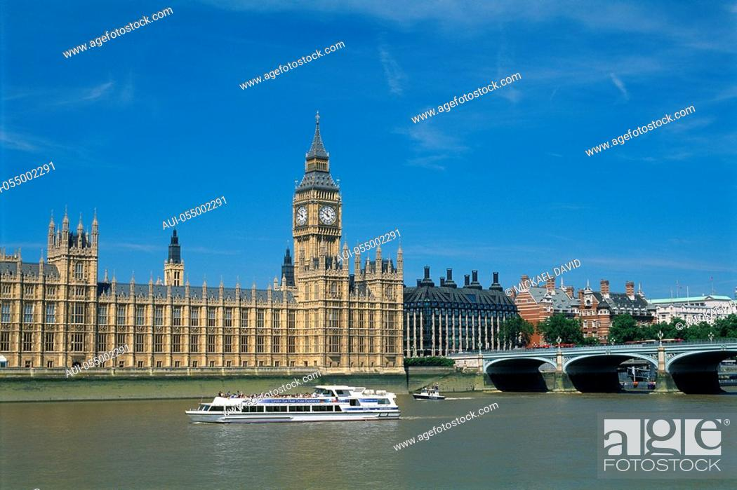 Stock Photo: England - London - District Westminster - Big Ben and Houses of Parliament.