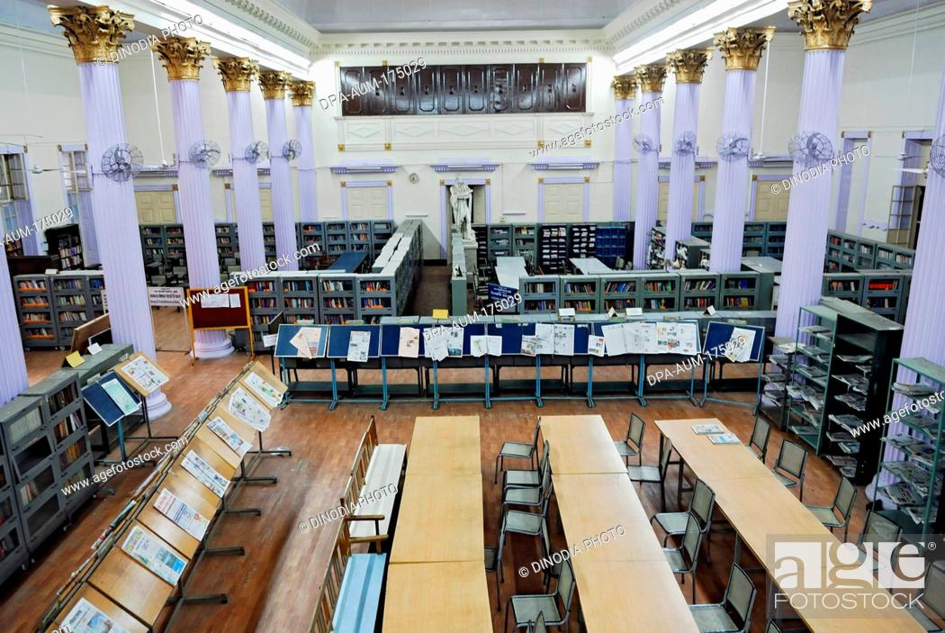 Stock Photo Newspaper Stand And Book Shelves In Town Hall Asiatic Library Bombay Mumbai