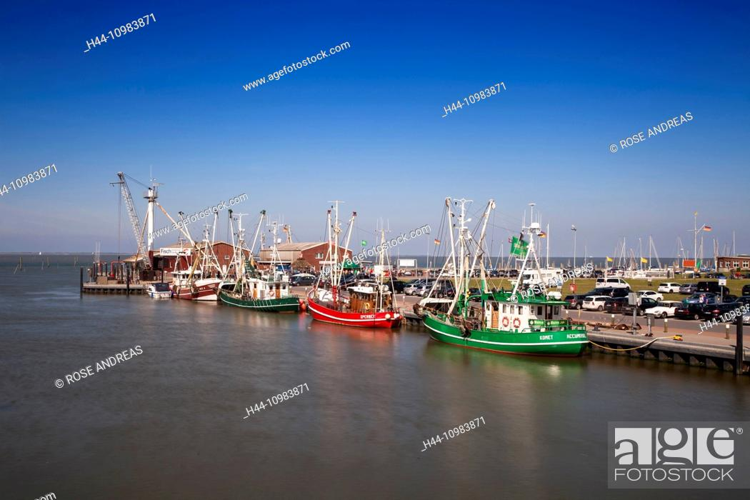 Stock Photo: Crab cutters in the harbour, Greetsiel, Leybucht, Krummhörn, East Friesland, Lower Saxony.