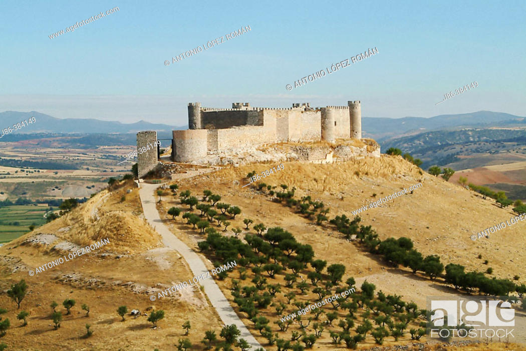 """Stock Photo: Medieval castle (known as """"Castle of El Cid"""") and dry farming fields. Jadraque. Guadalajara province, Spain."""