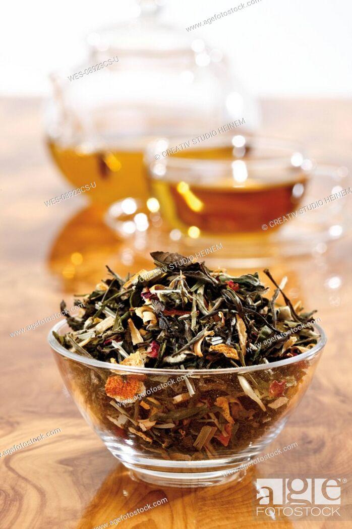Stock Photo: Green tea mixture, close-up.
