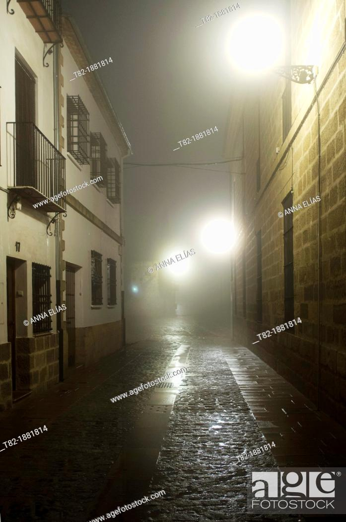 Stock Photo: cobbled street at night with fog lights and backlit, monumental area of Baeza, Jaen, Andalucia, Spain, Europe.