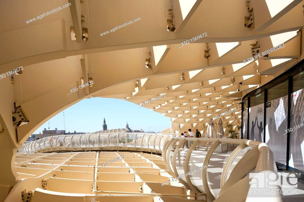 Stock Photo: Detail of the grid of Metropol Parasol structure, Seville, Spain.