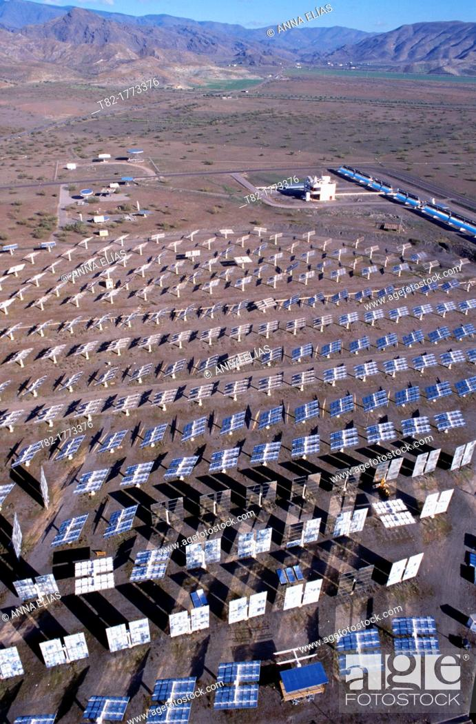 Stock Photo: overview of solar panels in the desert, solar station Tavernas, Almería, Andalusia, Spain, Europe.