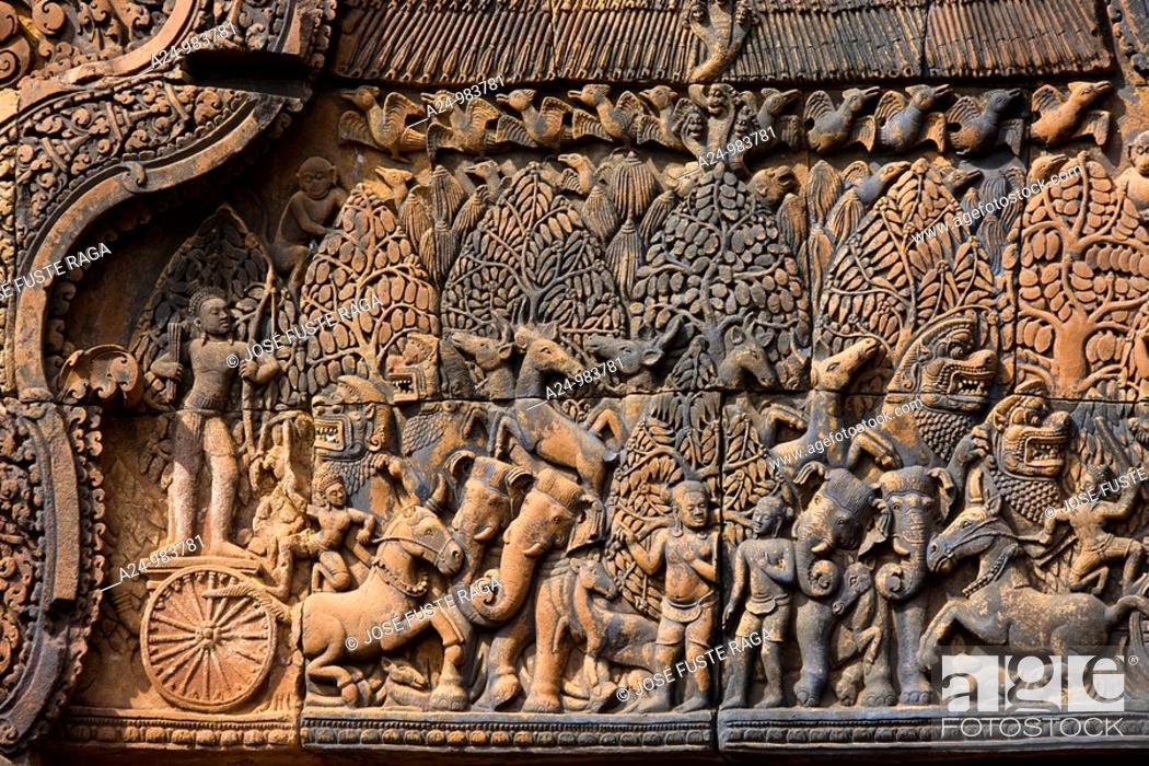 Stock Photo: Cambodia-No  2009 Siem Reap City Angkor Temples W H  Banteay Srei Temple Detail.