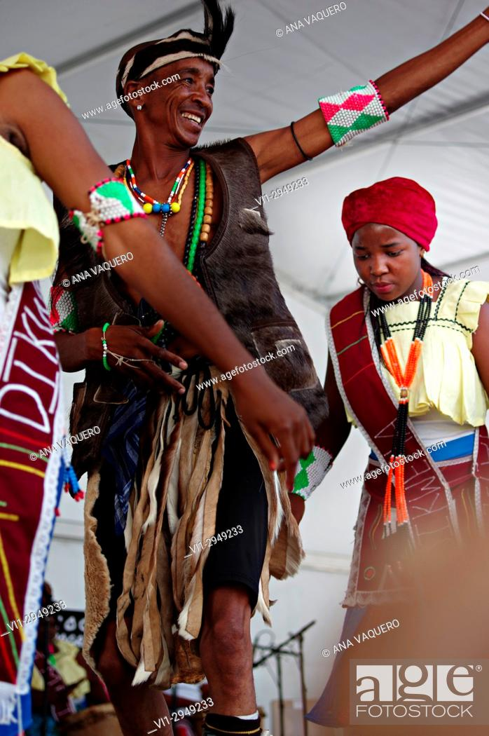 Stock Photo: Folk festival held in Miajadas, farewell dancers from the Republic of Togo. Extemadura, Spain.