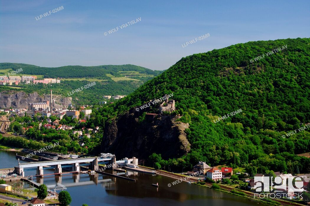 Stock Photo: View of Strekov in Usti nad Labem, Usti nad Labem Region, Czech Republic.