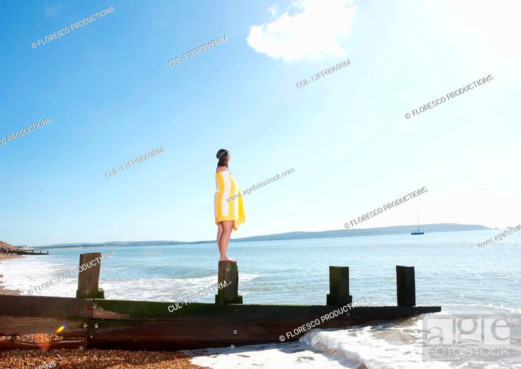 Stock Photo: Woman going for a swim.