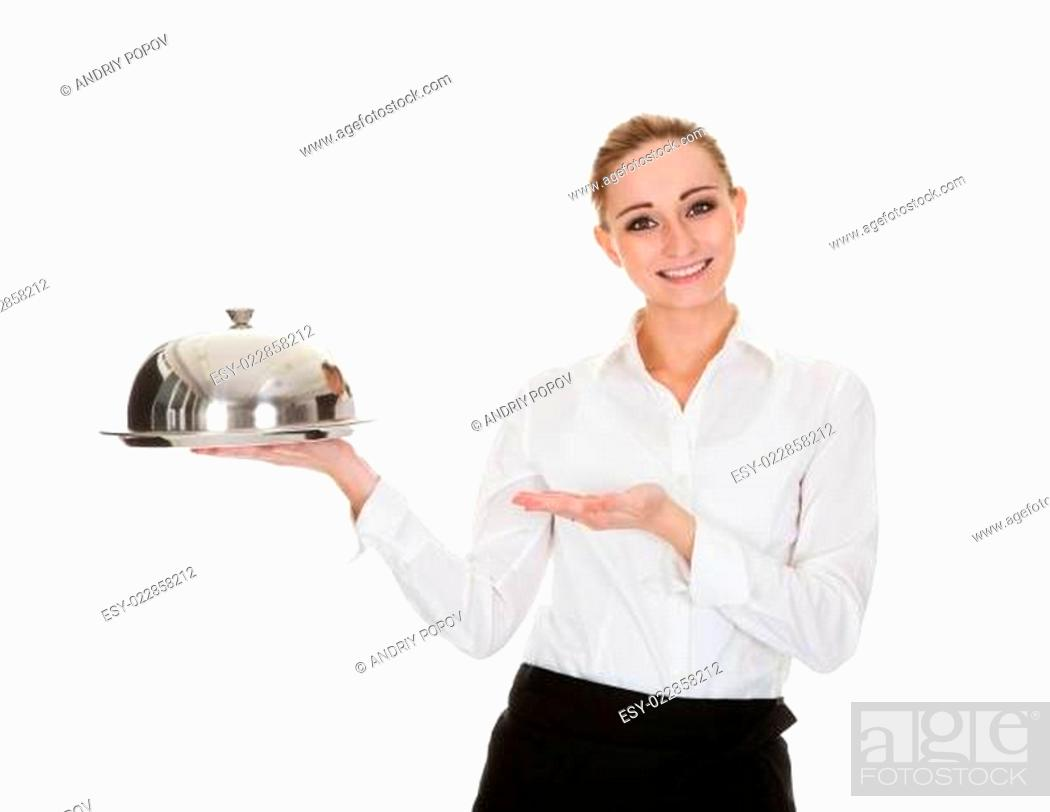 Stock Photo: Young Waitress Holding Tray And Lid.