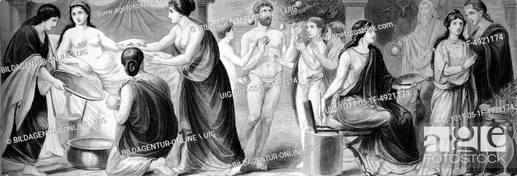 Imagen: Cultural history of ancient rome, from left: women's lives, ball game, artist, historical illustration.