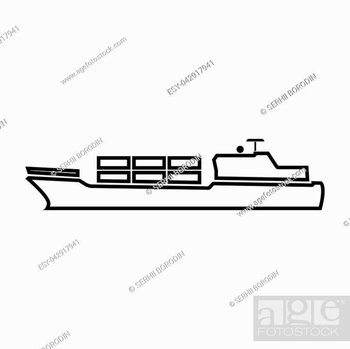 Vector: Merchant ship it is black color icon .