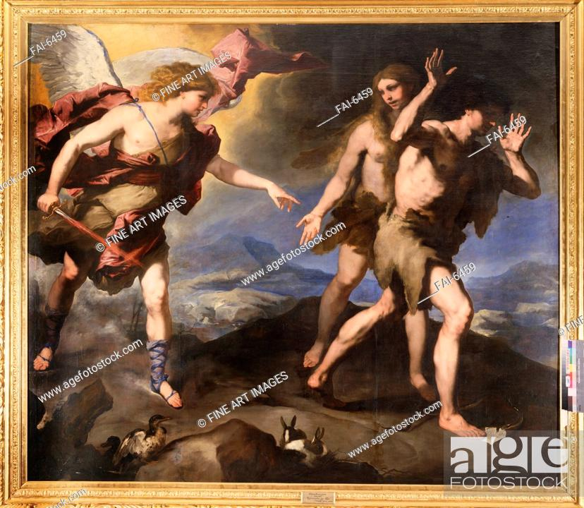Stock Photo: Expulsion from the Paradise. Giordano, Luca (1632-1705). Oil on canvas. Baroque. Second Half of the 17th cen. . State Open-air Museum Palace Gatchina, St.