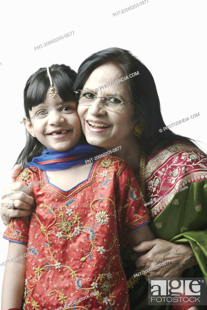 Stock Photo: Portrait of a mature woman with her granddaughter.